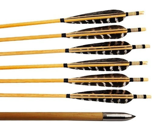 Huntingdoor Turkey Feather 12-Pack Wooden Arrows