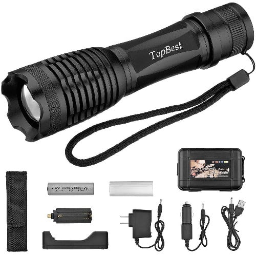 TopBest Portable Ultra Rechargeable Flashlight