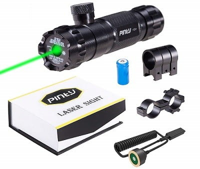 Pinty Hunting Green Laser Rifle Sight Adjustable with Mounts